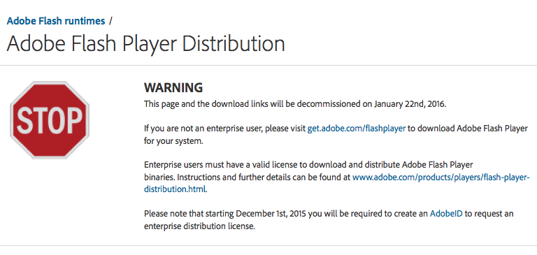 Adobe Flash Player Distribution Site Going Away In Jan What If Any Are Our Options Jamf Nation