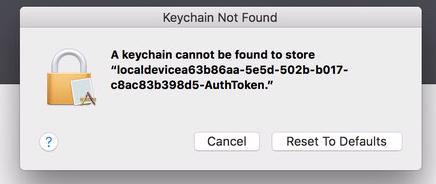 mac keeps saying keychain not found