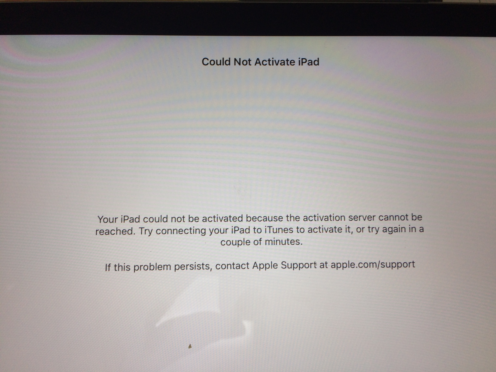 activation server cannot be reached ipad