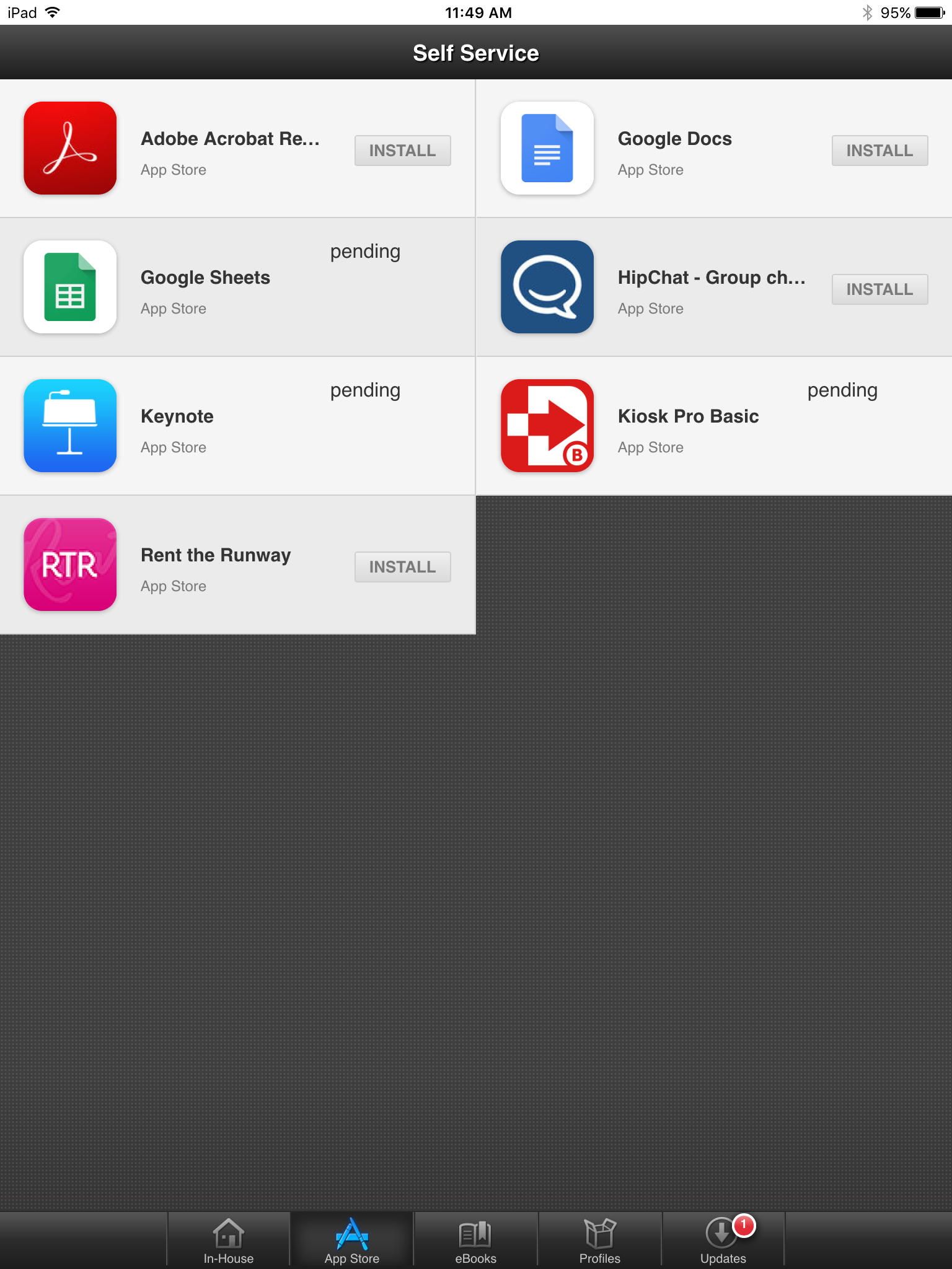 Self Service Purchased Apps status Pending  | Discussion