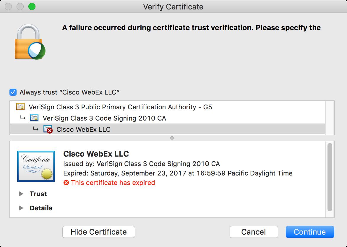 Cisco WebEx cert expired    | Discussion | Jamf Nation