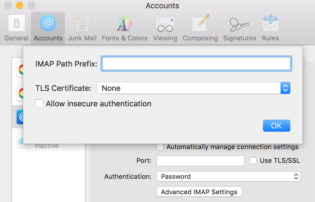 Apple Mail IMAP won't allow insecure authentication | Discussion