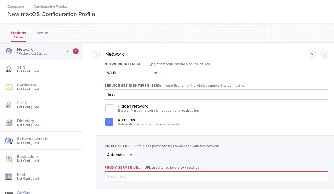 Make Automatic Proxy Discovery available in Config Profile´s Network