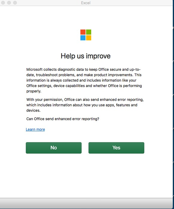 Share how to disable help us improve Microsoft office 2016 pop up on