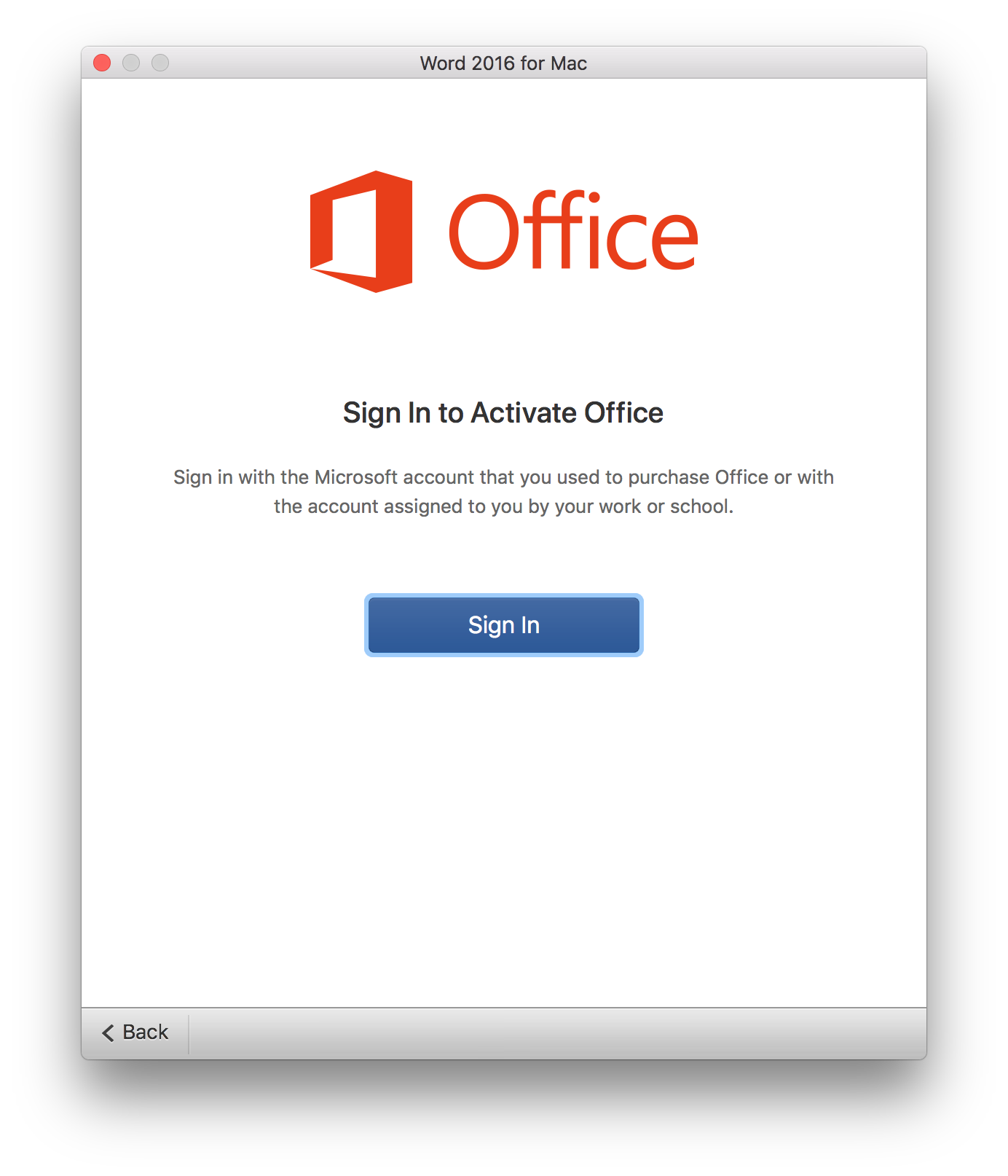 Office 2016 16 11 and MacOS 10 13 3 - Unable to Sign In to activate