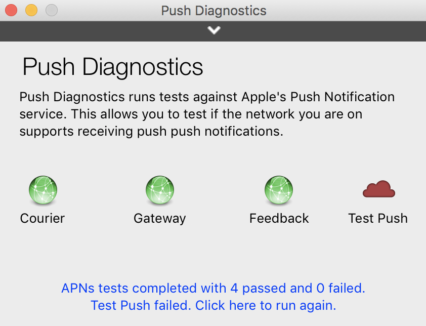 Update to Push Diagnostics, a utility to troubleshoot Apple