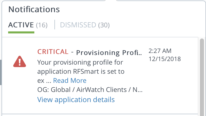 Notification of iOS expiring provisioning profile for in