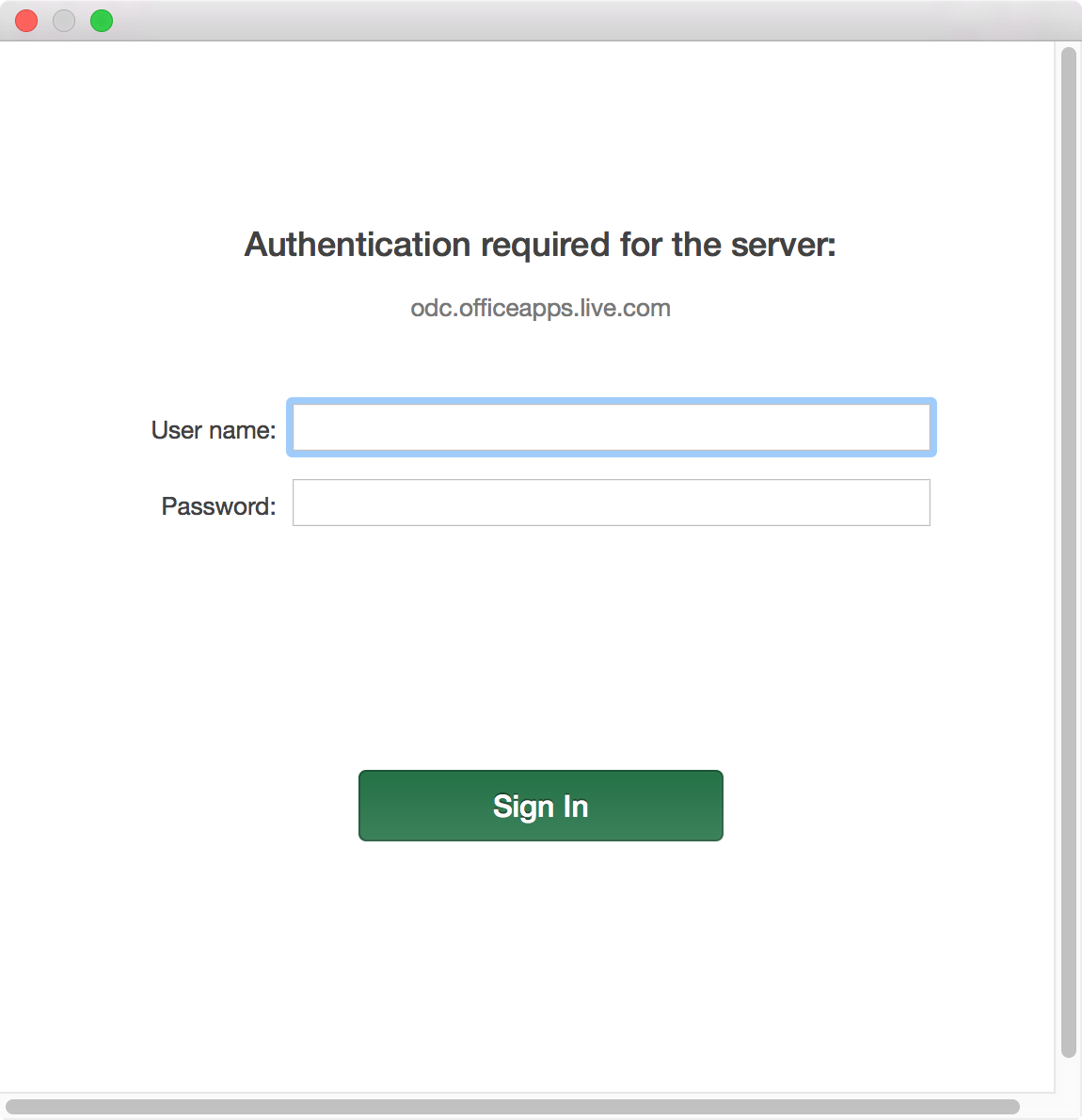 Authentication required for the server