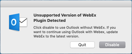 MS Office 16 23 (March 2019) not compatible with latest Webex