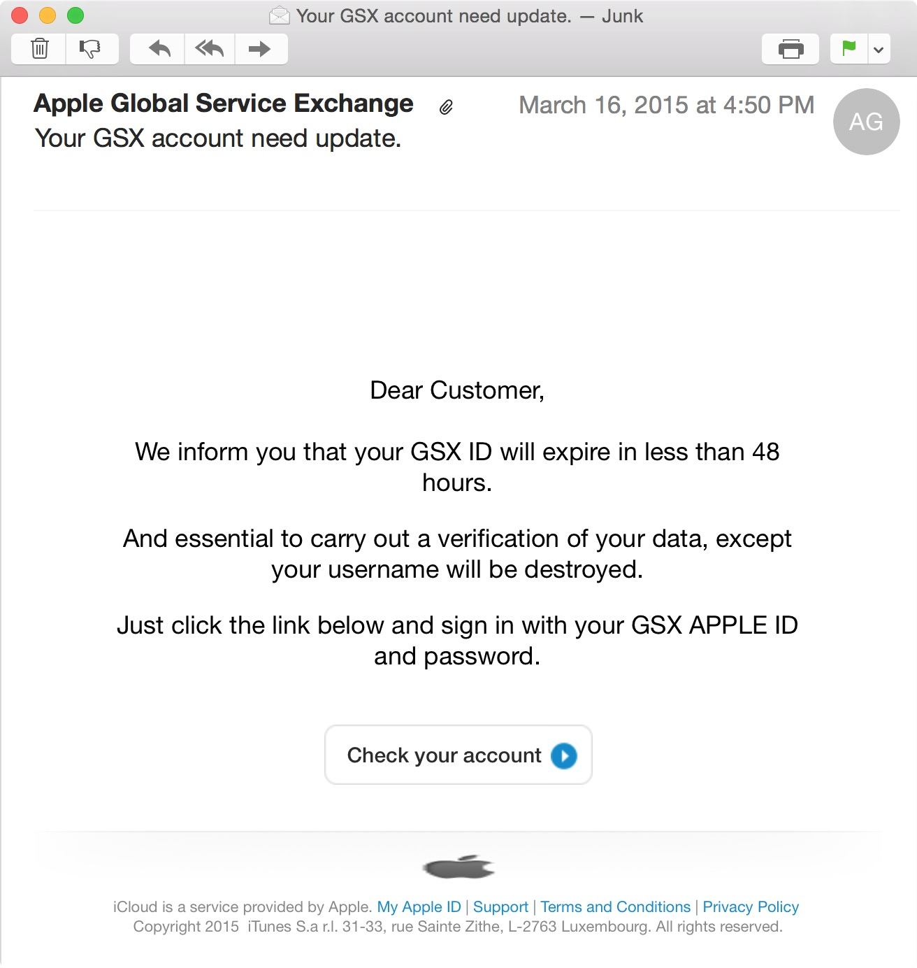 GSX Phishing Scam | Discussion | Jamf Nation
