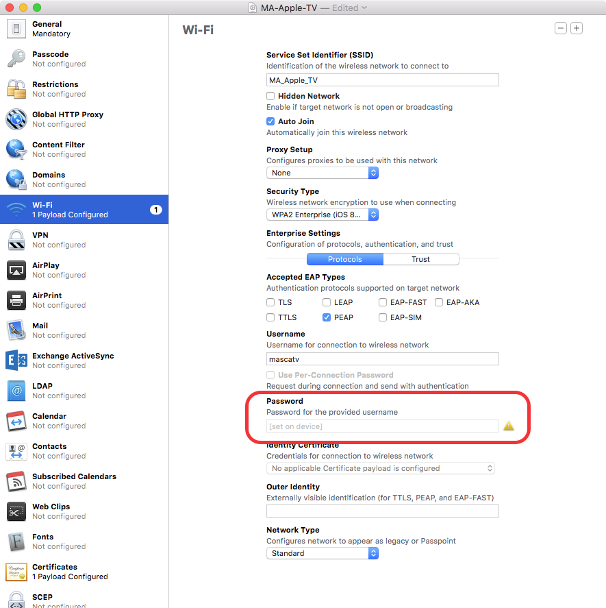 Apple Configurator 2 wi-fi payload for WPA Enterprise 2 not