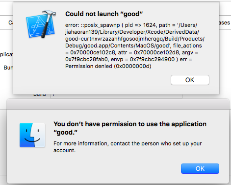 Xcode 8 3 2 run and launch error with domain users login from AD and