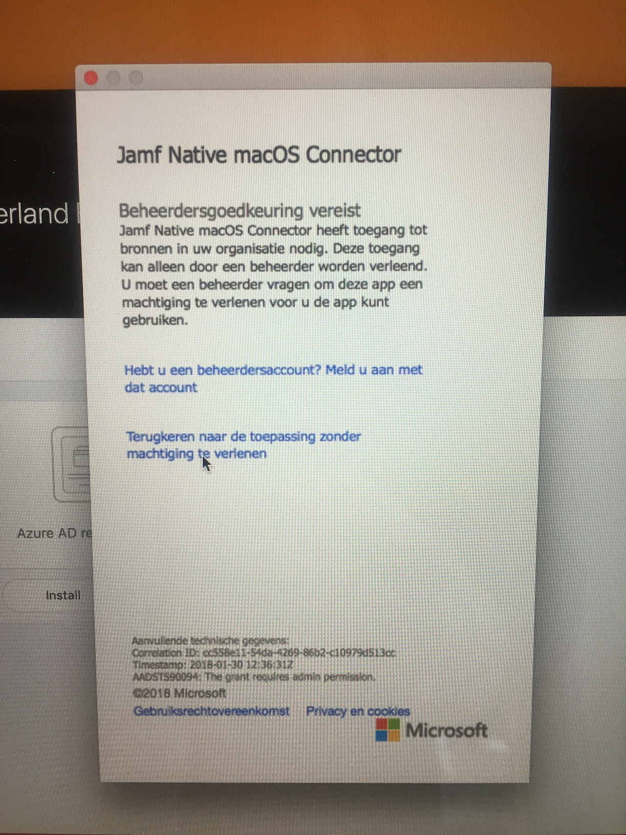 Intune Jamf Native macOS Connector keeps asking for admin