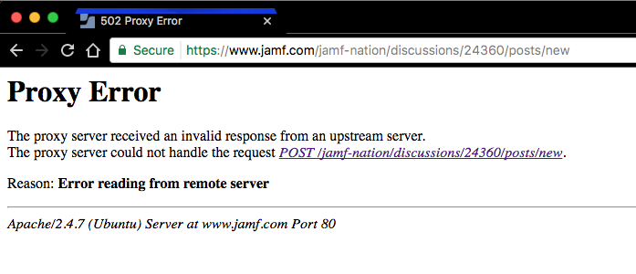 Jamf nation proxy error   wtf? | Discussion | Jamf Nation
