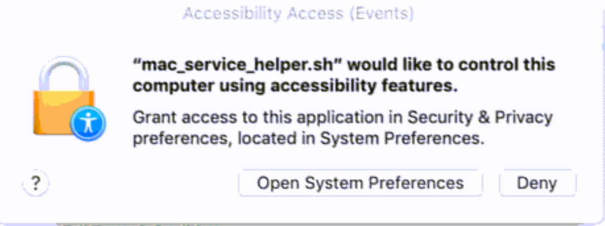 Allow Apps in Security & Privacy -> Privacy -> Accessibility in