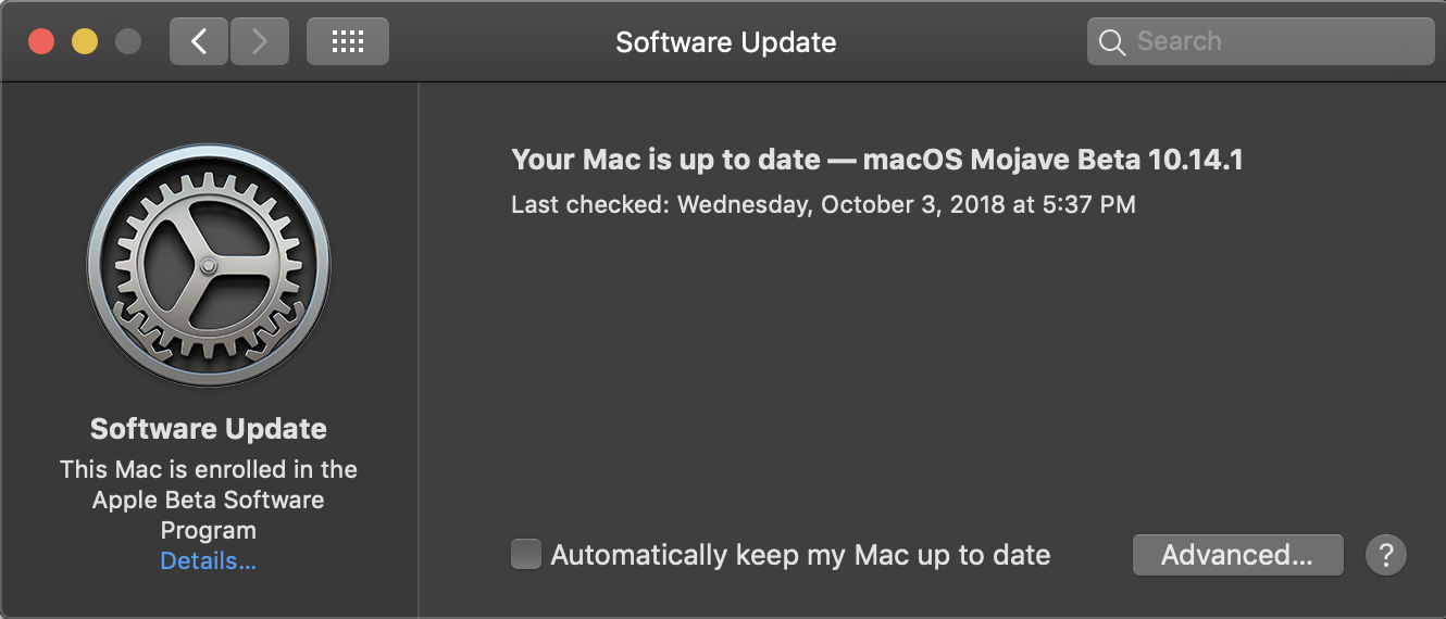 Enable / Disable Software Update (System) in Mojave