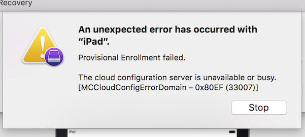 configurator could not download and apply the cloud configuration