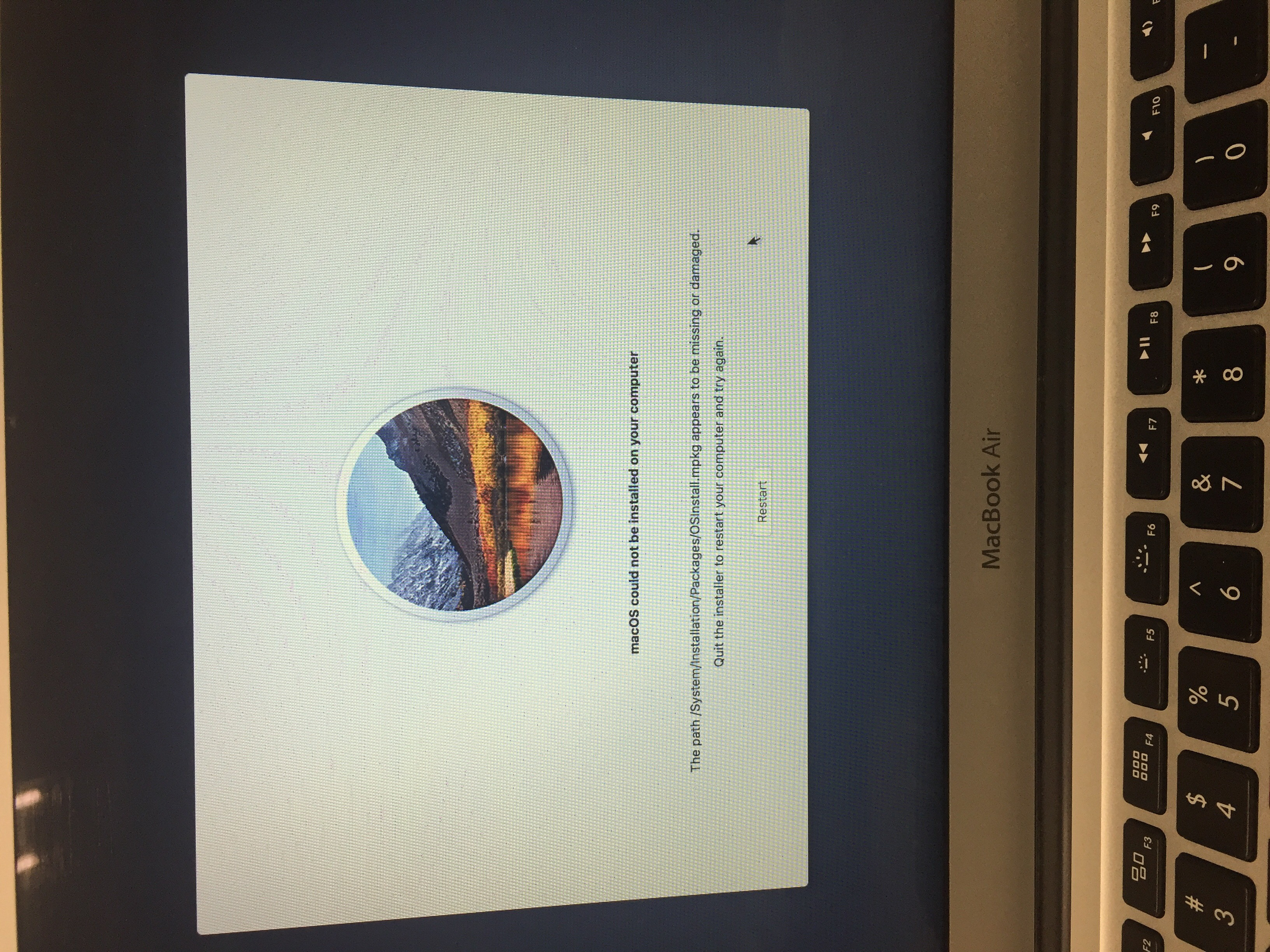 macOS High Sierra installer attempting to run after successful